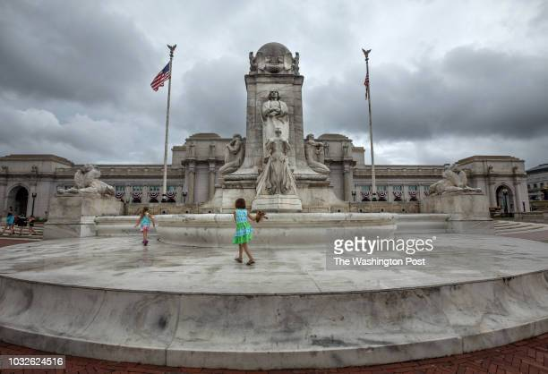 The Columbus Circle fountain outside of Union Station is boarded up and not functioning July 6 in Washington DC Photo by Evelyn Hockstein/For The...