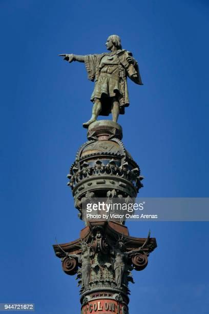 the columbus monument. rambla, barcelona, catalonia, spain - victor ovies fotografías e imágenes de stock