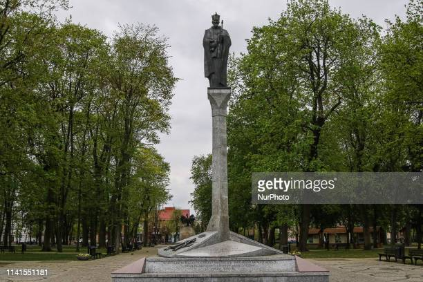 The Column of King Sigismund II Augustus founded in 2007 to commemorate the 450th anniversary of the municipal rights granting is seen in Augustow...