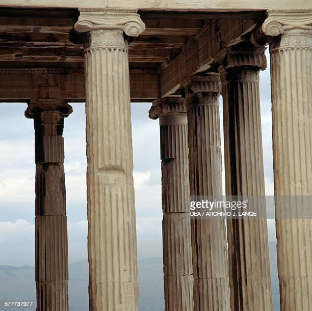 The columns and Ionic capitals of the north porch of the Erechtheion 421406 BC Acropolis of Athens Greece Greek civilisation 5th century BC