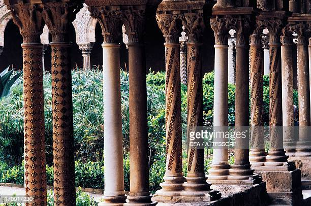 The columns from the cloister of the Cathedral of Monreale Monreale Sicily Italy