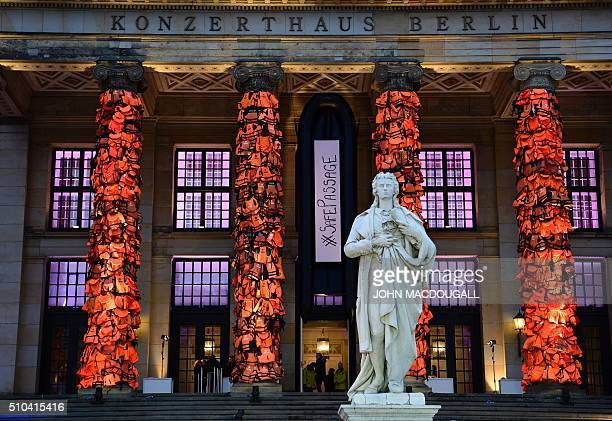 The columns of Berlin's Konzerthaus concert hall are decorated with lifejackets as art installation of Chinese artist Ai Weiwei as an installation...
