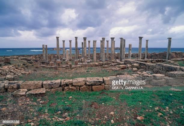 The columns of the second basilica Apollonia near Susah Libya Byzantine civilization 4th5th century