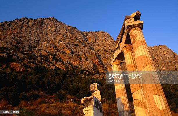 The columns of the Tholos (built 4 B.C.) at Delphi Temple on the slopes of Mt Parnassos.