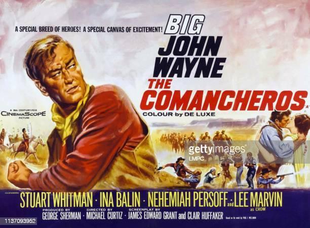 John Wayne right Stuart Whitman Ina Balin on poster art 1961
