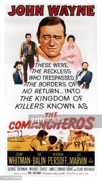 The Comancheros poster top from lower left Lee Marvin Stuart Whitman John Wayne Ina Balin Nehmiah Persoff bottom lr John Wayne Ina Balin on poster...