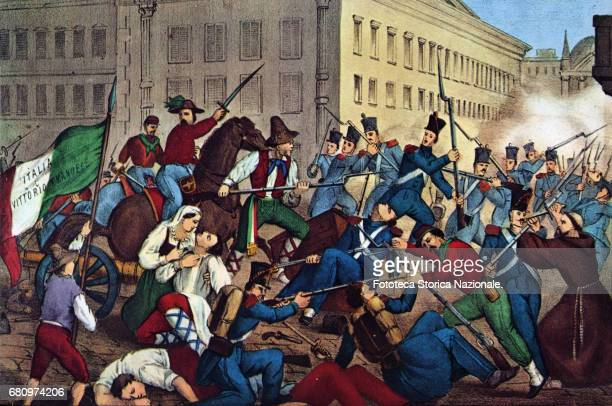 The combats of the Garibaldi volunteers in Palermo May 2730 1860 the General is depicted on horseback with sword drawn that urges his men to battle...