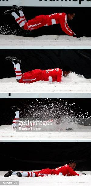 The combinated image shows Ze Roberto of Munich having contact with the snow during the friendly match between FC Eintracht Bamberg and FC Bayern...