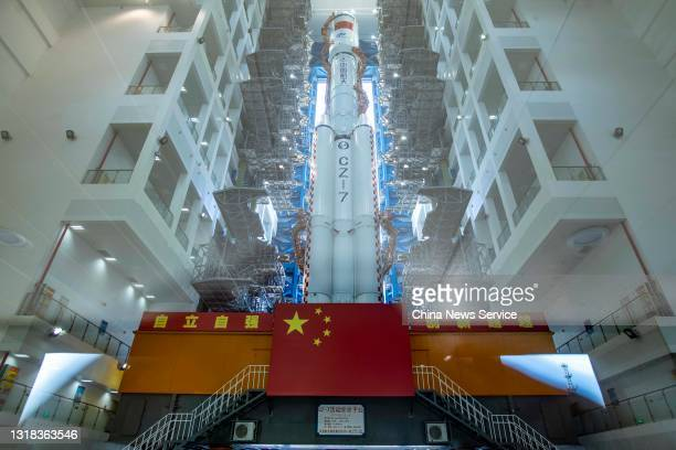 The combination of the Tianzhou-2 cargo spacecraft and the Long March-7 Y3 carrier rocket moves to the launching area of the Wenchang Spacecraft...