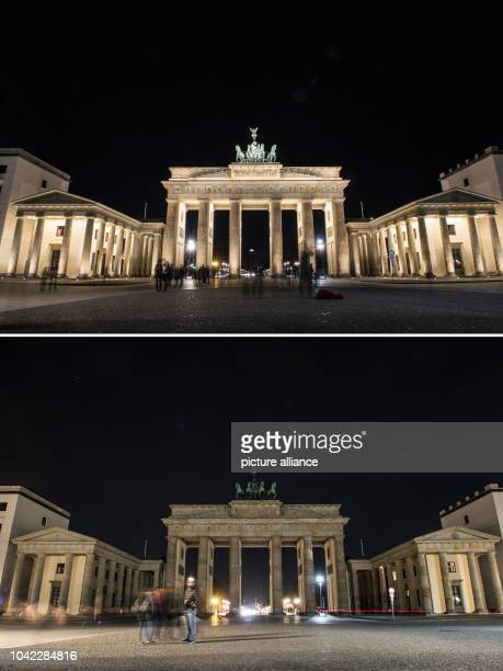 The combination picture shows the Brandenburg Gate lit up and unlit shortly before the beginning of international Earth Hour in Berlin 25 March 2017...