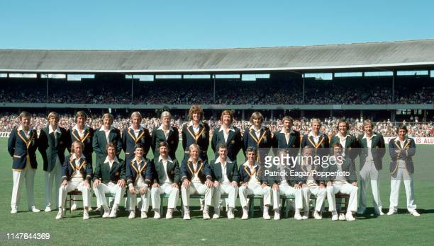 The combined Australia and England teams for the Centenary Test match at the MCG Melbourne Australia 13th March 1977 Pictured are Dennis Amiss David...