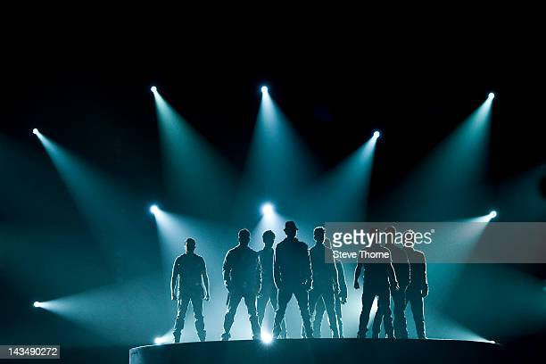The combined band members of New Kids On The Block and the Backstreet Boys perform on stage at LG Arena on April 27 2012 in Birmingham United Kingdom