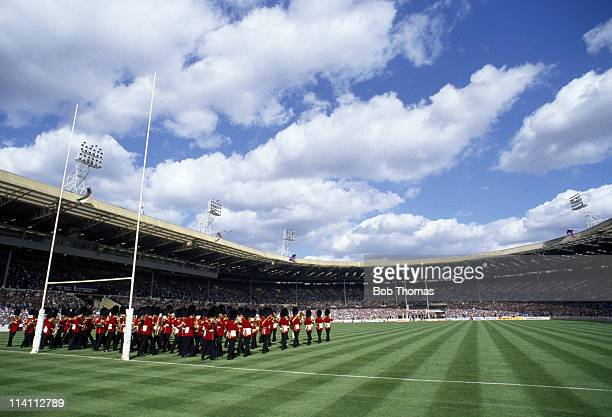 The combined bands of the Irish and Welsh Guards play prior to the Silk Cut Challenge Cup Final between St Helens and Halifax at Wembley Stadium,...