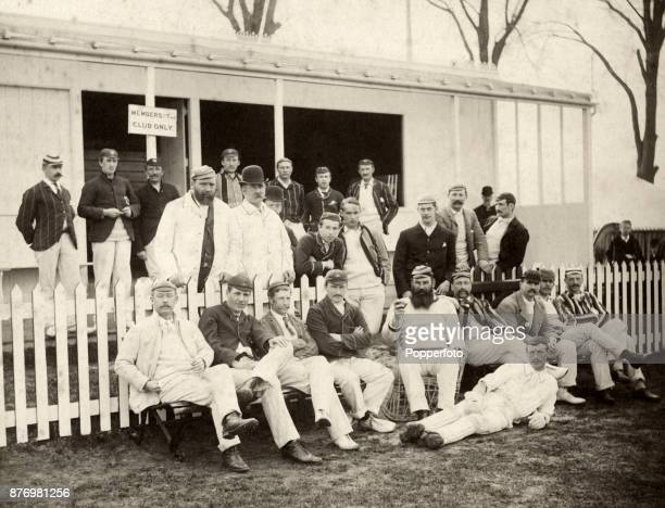 The combined teams of Octavius Goldney Radcliffe and W H Laverton prior to their match at the Laverton Cricket Ground in Westbury Wiltshire on 15th...