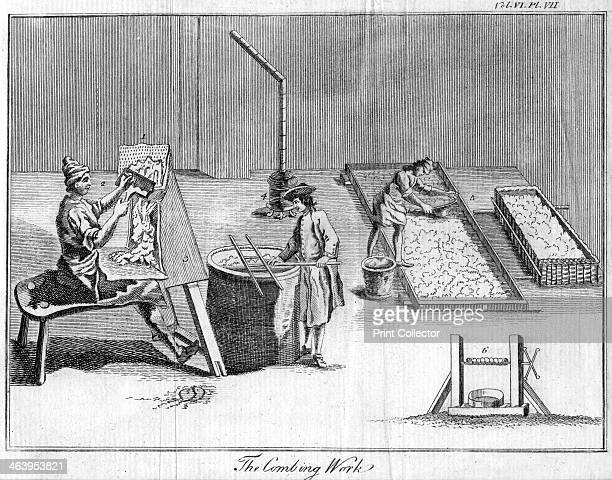 'The Combing Work', c1750. Textile workers combing or carding wool.