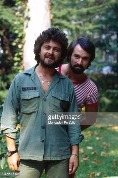 The comedian Beppe Grillo and the Tv author Antonio Ricci together at the park 1979