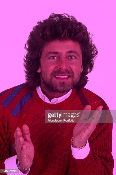 The comedian Beppe Grillo presenting the Tv show Te lo do io il Brasile 1984