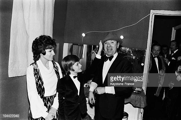 The Comedian Fernand Reynaud Being Congratulated By His Wife And His Son Pascal After His Performance At The Olympia In Paris