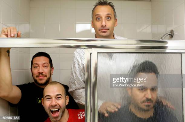 The comedians of Impractical Jokers Sal Vulcano James Murray Joseph Gatto and Brian Quinn pose for a portrait before performing at the Allstate Arena...