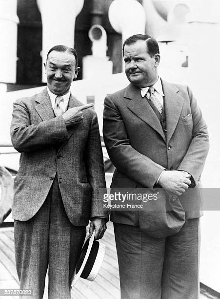 The comedians Stanley Laurel and Oliver Hardy arrive in Europe by boat on June 24 1932