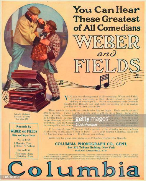 The comedians Weber and Fields are pictured in a Columbia Records magazine advertisement 1912 The ad lists the price as 75 cents per DoubleDisc...