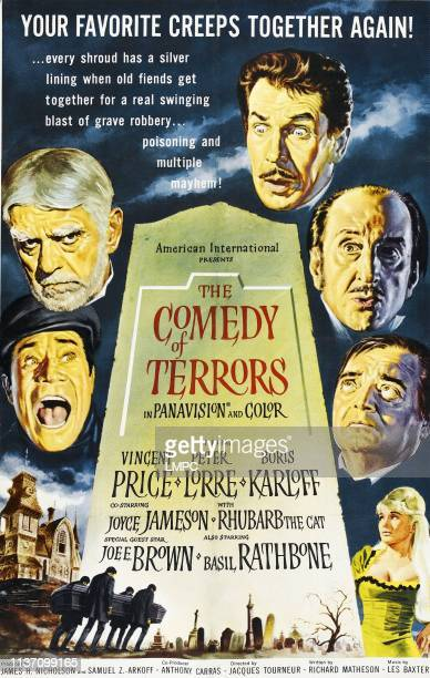 The Comedy Of Terrors poster clockwise from midleft Joe E Brown Boris Karloff Vincent Price Basil Rathbone Peter Lorre Joyce Jameson on 1sheet poster...