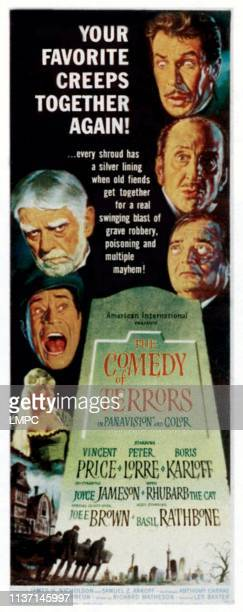 The Comedy Of Terrors poster left from top Boris Karloff Joe E Brown Joyce Jameson right from top Vincent Price Basil Rathbone Peter Lorre 1963
