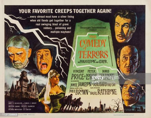 The Comedy Of Terrors poster US poster art clockwise from left Boris Karloff Joe E Brown Joyce Jameson Vincent Price Basil Rathbone Peter Lorre 1963