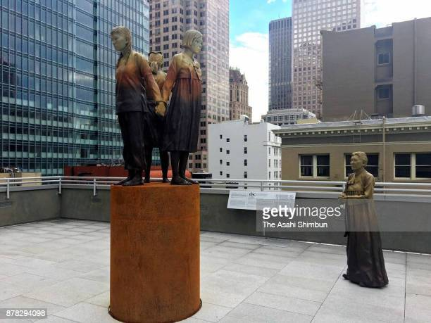 "The ""comfort women"" monument is seen on November 22, 2017 in San Francisco, California. Osaka Mayor Hirofumi Yoshimura decided to end the 60-year..."