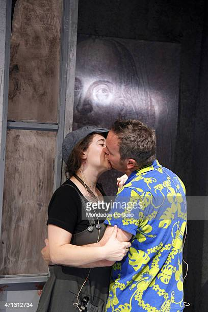 The comic actors Maria Di Biase and Corrado Nuzzo kiss each other during the rehearsal of A Midsummer Night's Dream by William Shakespeare directed...