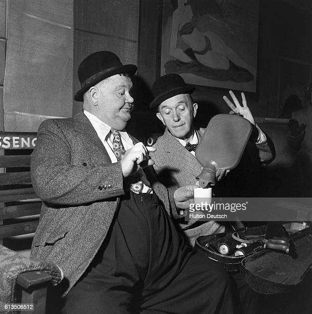 The comic team Laurel and Hardy perform ca 1955