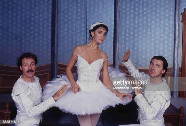 The comic trio formed by Massimo Lopez, Anna Marchesini and Tullio Solenghi in the theatre show 'In principio era il trio'. Italy, 1990