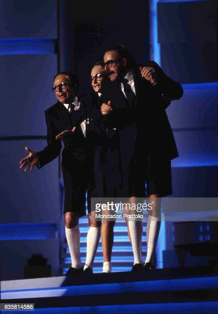 The comic trio formed by Massimo Lopez, Anna Marchesini and Tullio Solenghi performing in the prime time at 39th Sanremo Music Festival. Sanremo ,...