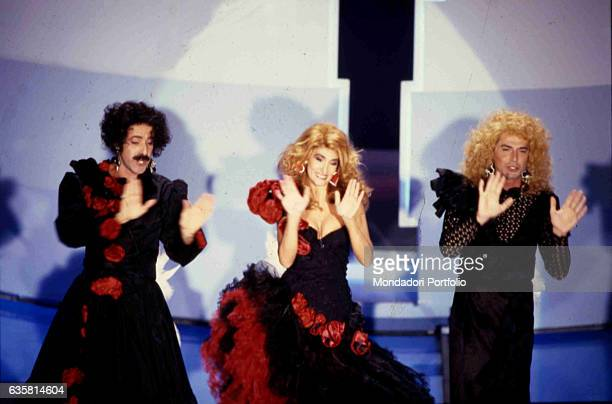 The comic trio formed by Massimo Lopez, Anna Marchesini and Tullio Solenghi performing at 39th Sanremo Music Festival. Sanremo , 23rd February 1989