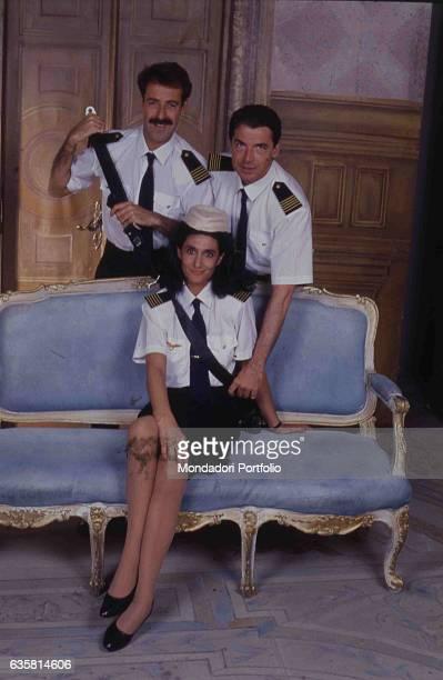 The comic trio formed by Massimo Lopez, Anna Marchesini and Tullio Solenghi posing on the set of the theatre show 'Allacciare le cinture di...