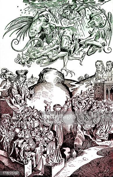 The coming of the Antichrist at the hill of ArmageddonAngels and demons fight watched by crowds of humans German fifteenth century woodcut from...
