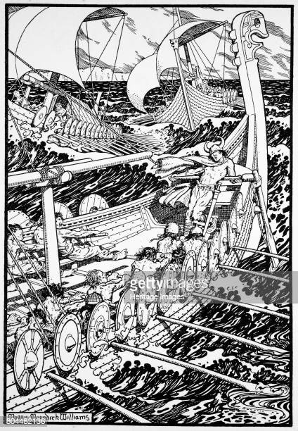 The Coming of the Northmen' 1913 The Viking invasions of Britain began with the raid on the island monastery of Lindisfarne in 793 Illustration from...