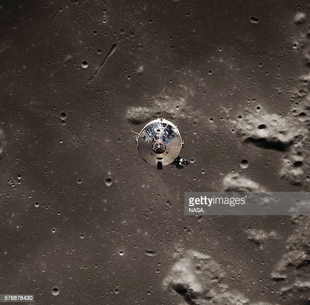 The command module Columbia pulls away from the Apollo 11 astronauts aboard the lunar module just before their landing on the Moon   View from...