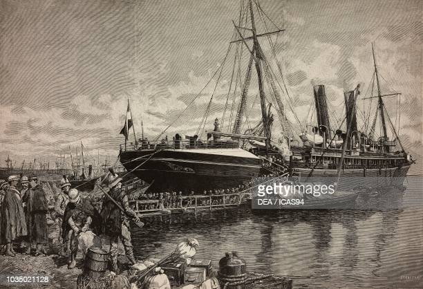 The Commander and the Chief of Staff of the expeditionary force boarding on the ship America Naples Italy Eritrean War engraving by Gamberoni from a...