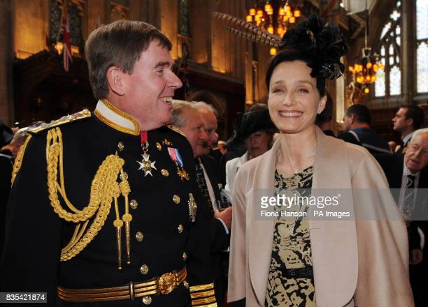 The Commander in Chief Fleet Admiral Sir Mark Stanhope with actress Kristin Scott Thomas at a Guildhall reception following a service at St Paul's...