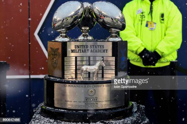 The Commander in Chiefs Trophy is displayed on the sidelines on December 9 2017 at Lincoln Financial Field in Philadelphia Pa in the 118th Army Navy...