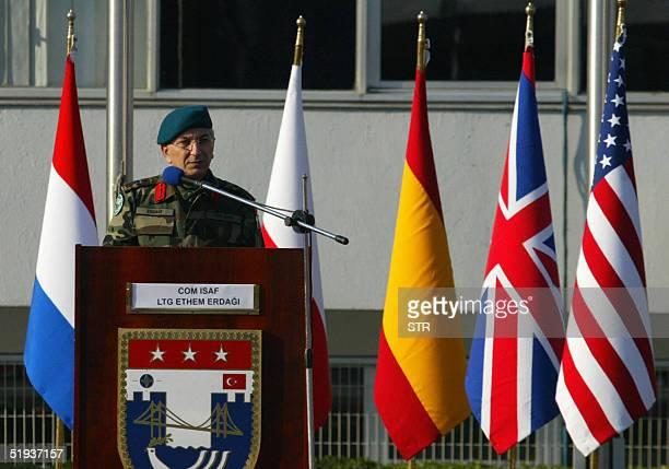 The Commander of ISAF Lt. Ethem Erdagi speaks at the ISAF VII Misssion Farewell Ceremony at Ayazaga Barracks in Istanbul, 11 January 2005. The...