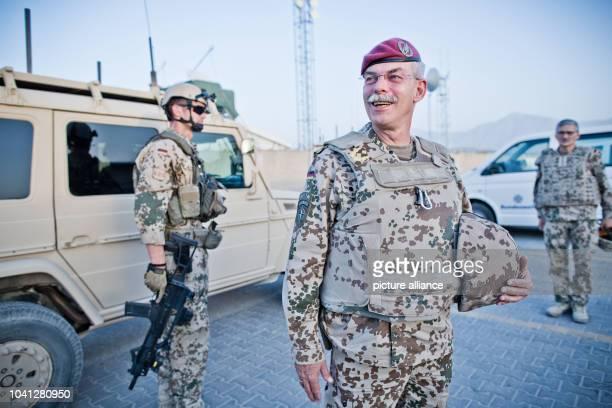 The commander of the international forces in Afghanistan Major General Joerg Vollmer poses at the German base camp in MazariSharif Afghanistan 02...