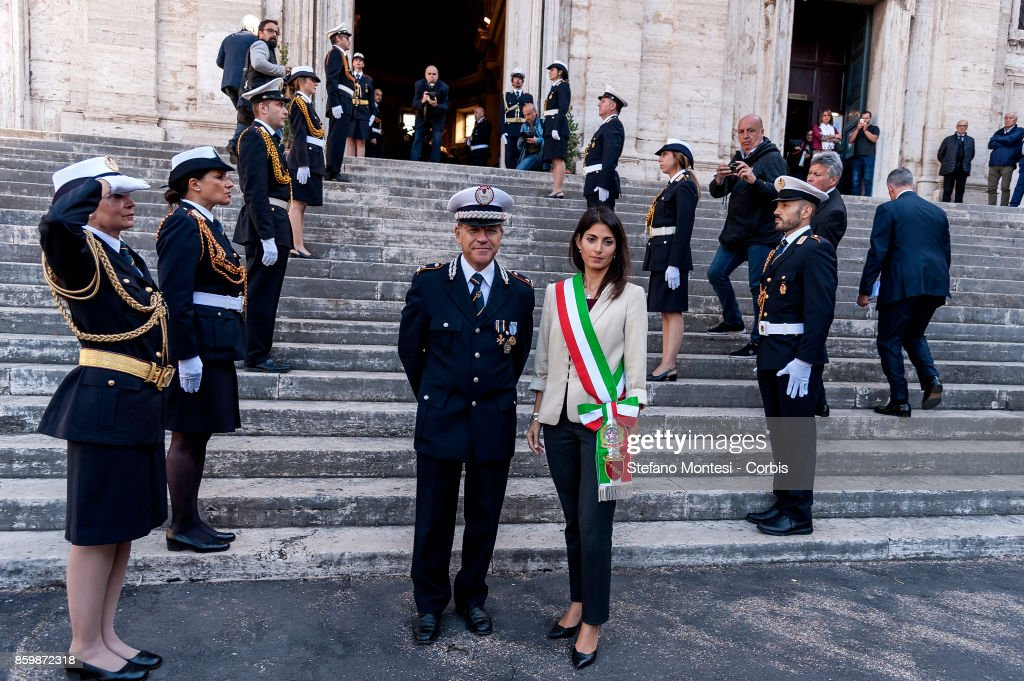 The Commander of the Municipal Police of Rome, Diego Porta with the Mayor of Rome, Virginia Raggi, during the ceremony of the Anniversary of the Foundation of the Municipal Police Corps of Rome Capital on October 10, 2017 in Rome, Italy. The Mayor of Rome, Virginia Raggi, takes part in the 147th anniversary commemorations of the foundation of the Corps - Municipal Police. The Municipal Police report to the Mayors of municipalities across Italy and are responsible for traffic and enforcing local laws.
