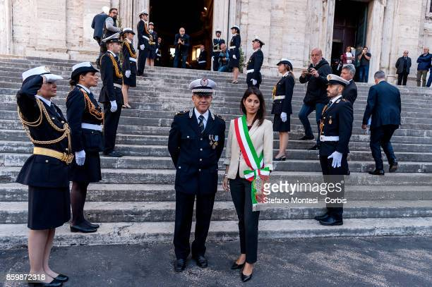 The Commander of the Municipal Police of Rome Diego Porta with the Mayor of Rome Virginia Raggi during the ceremony of the Anniversary of the...