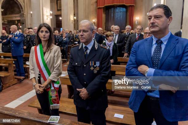 The Commander of the Municipal Police of Rome Diego Porta with the Mayor of Rome Virginia Raggi and Marco Cardilli as Deputy Head of Cabinet with...