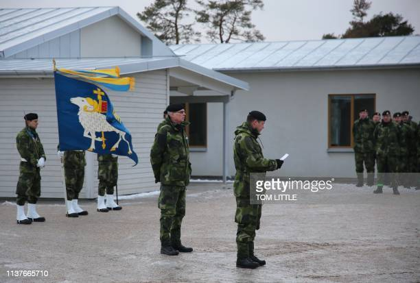 The commander of the Swedish Armys Gotland Regiment Colonel Matthias Ardin addresses a ceremony taking place near the town of Visby on February 5 to...