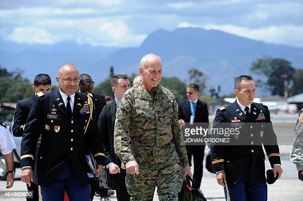 The commander of the US Southern Command General John Kelly arrives at the Guatemalan Air Force base in Guatemala City on March 2 2015 Leaders from...