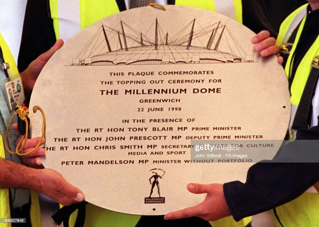 The commemorative plaque laid on the roof of the Millennium