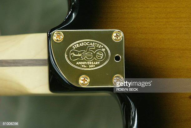 The commemorative plaque on the back of an new 1954 style Fender Stratocaster guitar at the Fender manufacturing facility in Corona California 28...
